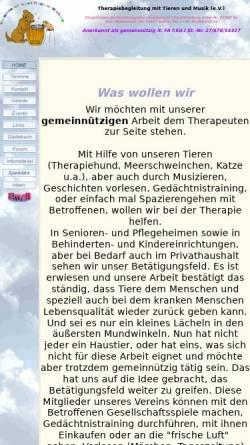 Vorschau der mobilen Webseite www.therapiebegleitung-berlin.de, Therapiebegleitung mit Tieren und Musik