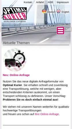 Vorschau der mobilen Webseite www.optimal-kurier.de, Optimal Kurier Klotz/Kuhn GbR
