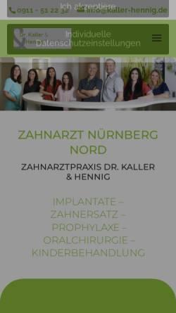 Vorschau der mobilen Webseite www.kaller-hennig.de, Zahnarztpraxis Dr. Kaller & Hennig