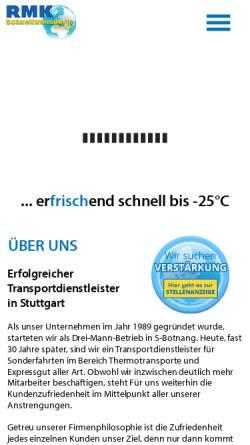 Vorschau der mobilen Webseite www.rmk-schnelltransporte.de, RMK Schnelltransporte Vermittlungs GmbH