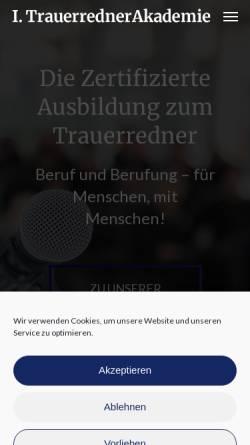 Vorschau der mobilen Webseite www.trauerrednerakademie.de, Human Network GmbH
