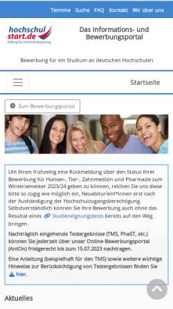 Vorschau der mobilen Webseite www.zvs.de, Zentralstelle für die Vergabe von Studienplätzen (ZVS)