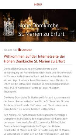 Vorschau der mobilen Webseite www.dom-erfurt.de, Dom St. Marien