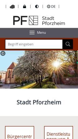 Vorschau der mobilen Webseite www.pforzheim.de, Stadt Pforzheim