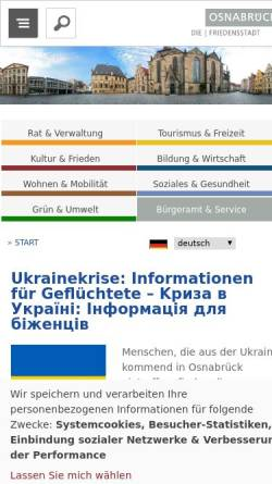 Vorschau der mobilen Webseite www.osnabrueck.de, Stadt Osnabrück