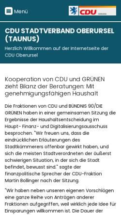 Vorschau der mobilen Webseite cduoberursel.de, CDU Oberursel
