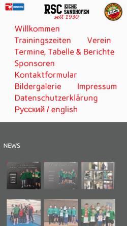 Vorschau der mobilen Webseite www.rsc-eiche-sandhofen.de, RSC Eiche Sandhofen 1930 e.V.