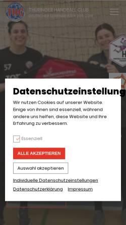 Vorschau der mobilen Webseite www.thueringer-hc.de, Thüringer HC Erfurt - Bad Langensalza e.V.