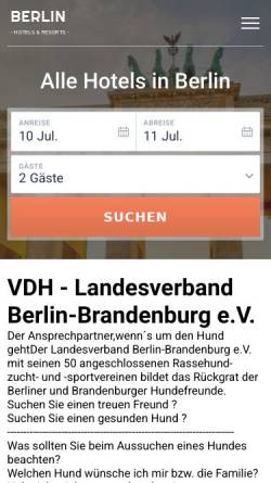 Vorschau der mobilen Webseite www.vdh-bb.de, VDH Berlin-Brandenburg e. V.