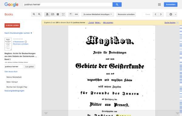 Vorschau von books.google.de, Kerner, Justinus., Magikon