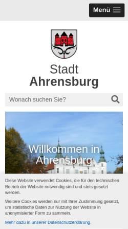 Vorschau der mobilen Webseite www.ahrensburg.de, Stadt Ahrensburg
