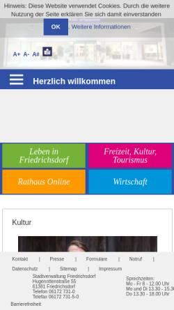 Vorschau der mobilen Webseite www.friedrichsdorf.de, Friedrichsdorf