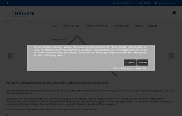 Vorschau von www.zelte-events.de, Leibinger Zelte & Events