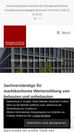 Vorschau der mobilen Webseite www.immogutachter-muenchen.de, Dieckmann & Kirchner Immobiliensachverständige