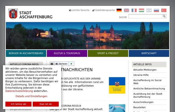 Vorschau von www.aschaffenburg.de, Stadt Aschaffenburg