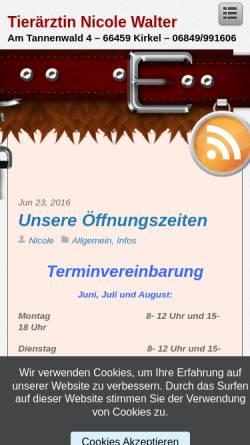 Vorschau der mobilen Webseite www.tierarzt-kirkel.de, Reiche, Carola und Nicole Wagner Tierärztinnen