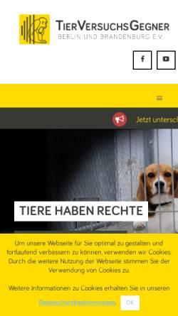 Vorschau der mobilen Webseite tierversuchsgegner-berlin-brandenburg.de, Tierversuchsgegner Berlin und Brandenburg e.V.
