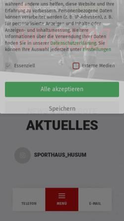 Vorschau der mobilen Webseite www.sporthaus-husum.de, Sporthaus-Husum