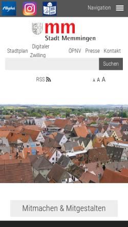Vorschau der mobilen Webseite www.memmingen.de, Stadt Memmingen