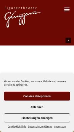 Vorschau der mobilen Webseite gingganz.de, Figurentheater Gingganz