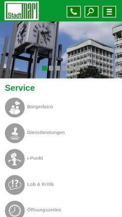 Vorschau der mobilen Webseite www.marl.de, Marl
