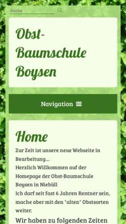 Vorschau der mobilen Webseite www.baumschule-boysen.de, Baumschule Boysen
