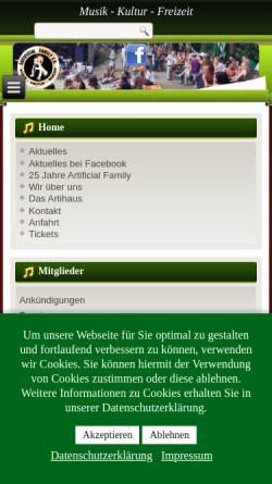 Vorschau der mobilen Webseite www.artifly.de, Artificial Family e.V.