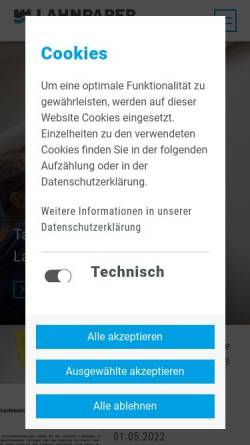 Vorschau der mobilen Webseite www.neenah-lahnstein.de, Neenah Lahnstein GmbH