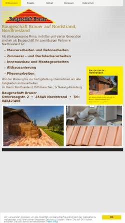 Vorschau der mobilen Webseite baugeschaeft-brauer.de, Bauunternehmen Wolfgang Brauer