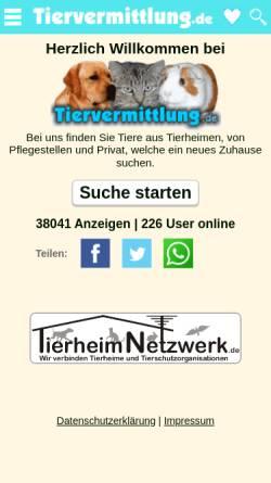 Vorschau der mobilen Webseite www.petquest.de, PetQuest.de - Tiervermittlung