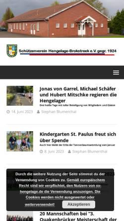 Vorschau der mobilen Webseite www.sv-hengelage.de, Schützenverein Hengelage-Brokstreek e.V.