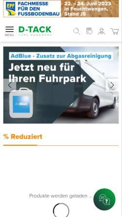 Vorschau der mobilen Webseite www.d-tack.de, D-TACK Klebeband