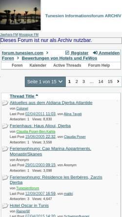 Vorschau der mobilen Webseite forum.tunesien.org, Tunesien.com - Hotelbewertungen