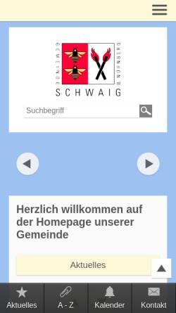 Vorschau der mobilen Webseite www.schwaig.de, Gemeinde Schwaig b. Nürnberg