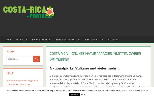 Vorschau von www.costa-rica-portal.com, Costa Rica Reiseinformationen