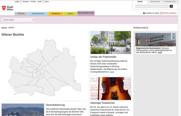 Vorschau von www.wien.gv.at, Wiener Bezirke