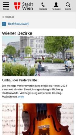 Vorschau der mobilen Webseite www.wien.gv.at, Wiener Bezirke