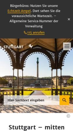 Vorschau der mobilen Webseite www.stuttgart.de, Landeshauptstadt Stuttgart