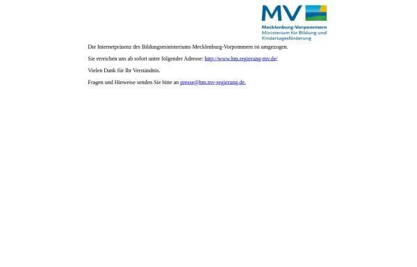 Vorschau von www.kultus-mv.de, Ministerium für Bildung, Wissenschaft und Kultur