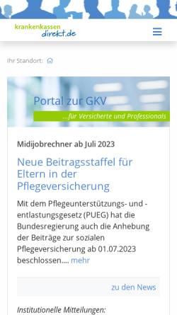 Vorschau der mobilen Webseite www.krankenkassen-direkt.de, kkdirekt