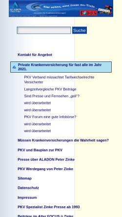 Vorschau der mobilen Webseite www.aladon.de, Zinke, Peter