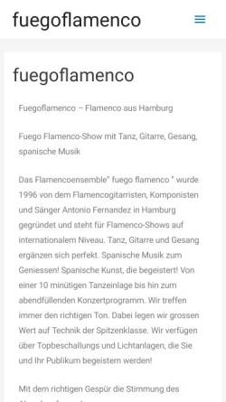 Vorschau der mobilen Webseite www.fuegoflamenco.de, Fuego Flamenco