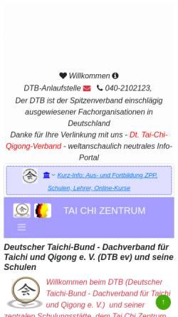 Vorschau der mobilen Webseite tai-chi-zentrum.de, Tai Chi Zentrum Hamburg e.V.