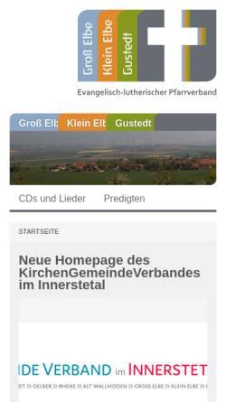 Vorschau der mobilen Webseite www.kirche-in-elbe.de, Predigten und Kindergottesdienst aus der Kirchengemeinde Groß Elbe