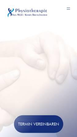 Vorschau der mobilen Webseite www.physio-freiberg.de, Physiotherapie Ines Mühl und Katrin Bretschneider