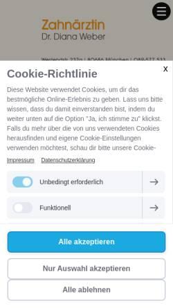 Vorschau der mobilen Webseite www.zahnarzt-laim.de, Dr. Diana Weber, Zahnärztin