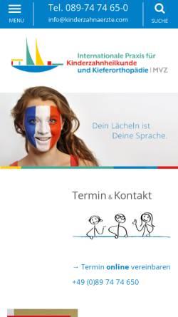 Vorschau der mobilen Webseite kinderzahnaerzte.com, Kinderzahnärzte - Dr. Esch und Dr. Geissler