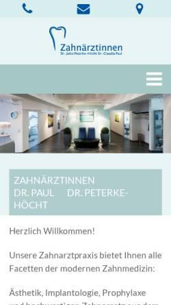 Vorschau der mobilen Webseite praxis-peterke-paul.de, Dr. Jutta Peterke, Dr. Claudia Paul, Zahnärztinnen
