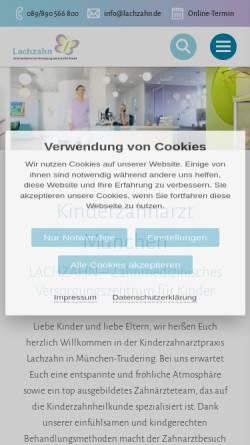 Vorschau der mobilen Webseite www.lachzahn.de, Kinderzahnärztin Dr. Bettina Brem