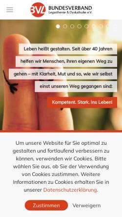 Vorschau der mobilen Webseite www.bvl-legasthenie.de, Bundesverband für Legasthenie und Dyskalkulie e.V.